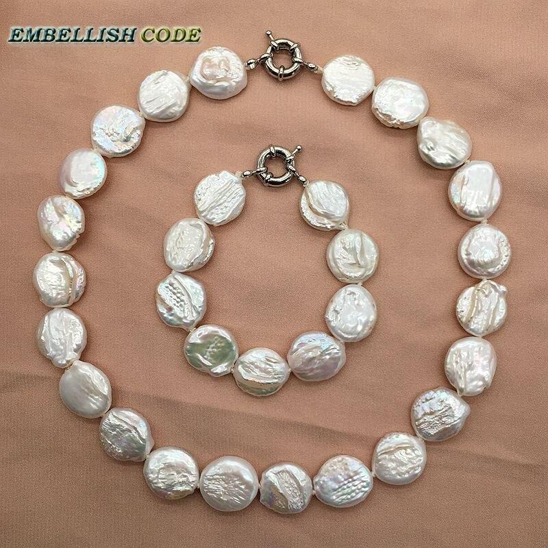 Baroque perle choker déclaration collier bracelet ensemble de bijoux couleur blanche ronde bouton de pièce plate forme naturelle perles d'eau douce