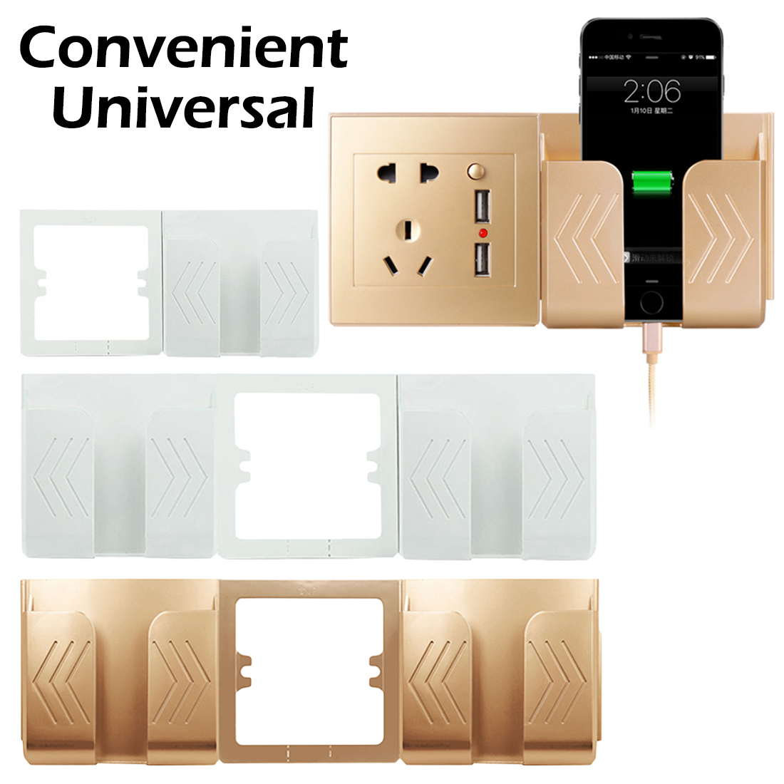 USB Power Outlet Socket Wall Charger Adapter Electric Wall Charger Adapter Charging Phone Charging Holder Display Support