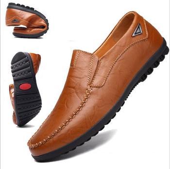 bd7aee05a Para Hombre de cuero genuino mocasines zapatos planos de los hombres  casuales transpirables italiano mocasines cómodos Plus tamaño 38-47 38-47  38-47 zapatos ...