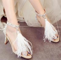 10CM High Heels White Pearl Glitter Peep Toe Sandals Feather Fringe Sexy Ladies Fashion Ankle Strap Luxury Designer Shoes Women