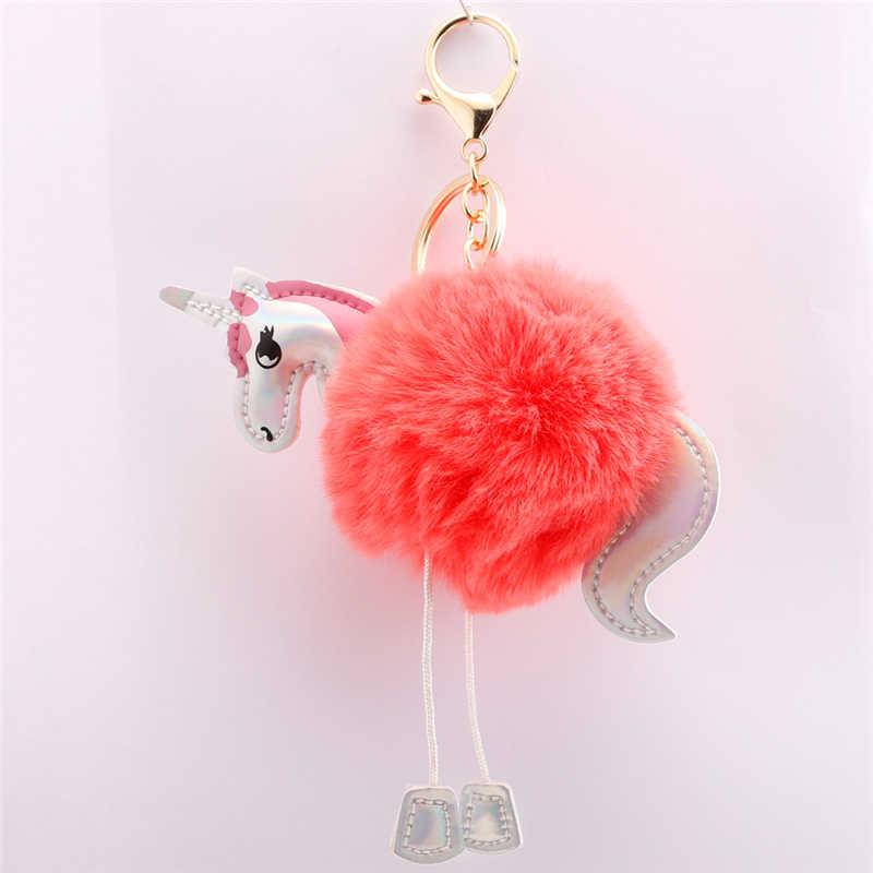 Śliczne Unicorn cekiny Pom Pom breloczek kolorowe nadziewane jednorożec lalki dla dzieci zabawki dla dzieci torba powiesić wisiorek brelok do kluczy Speelgoed prezent