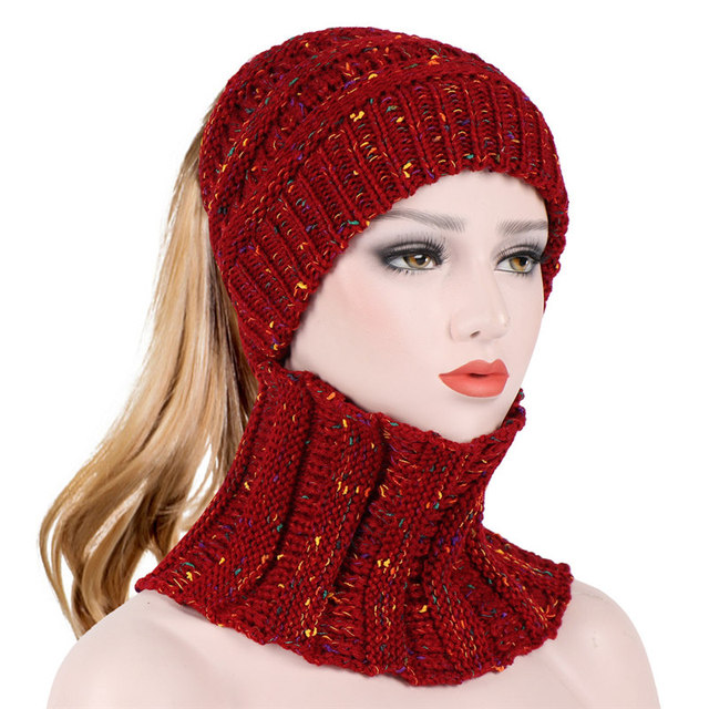 2 Pcs set Warm Crochet Beanie Hat For Women Hole On Top Stretchy Striped  Fashion Cap Skullies   Beanies Bonnet Gorro f96c8f73d7b