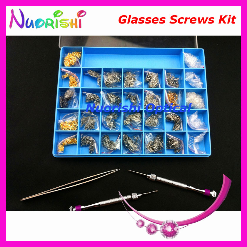 Glasses Eyeglass Repairing Parts Accessories Case Kit Set Screwdriver Screw Nuts Washers Tweezers Bushing HBS31 Free Shippi
