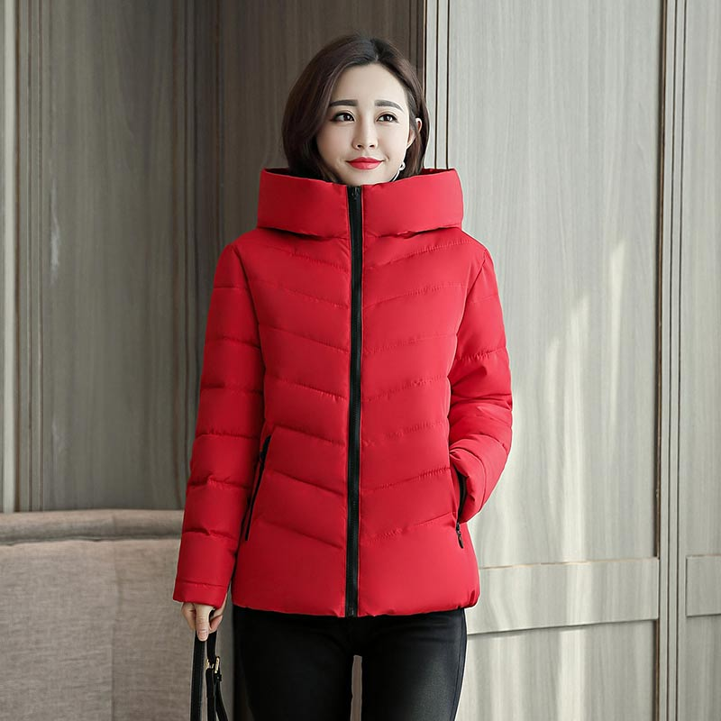 Brieuces 2018 Winter Jacket Women Cotton Short Jacket New Padded Slim Hooded Warm   Parkas   Coat Female Autumn Outerwear