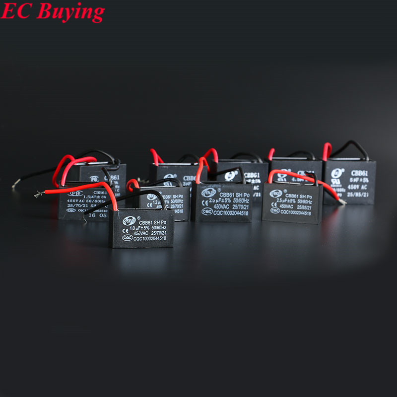 2pcs/Lot CBB61 starting capacitance 1uf 1.2uf 1.5uf 2uf 2.5uf 3uf 3.5uf 4uf 4.5uf 5uf AC Fan Capacitor 450V Kit CBB