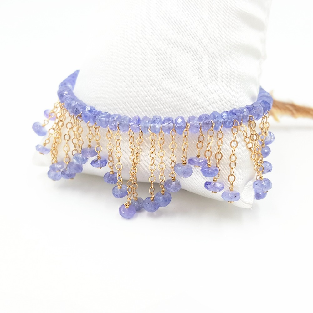 Lii Ji Natural Gemstone Tanzanite 9K GF/18K Yellow Gold Tassel Bracelet