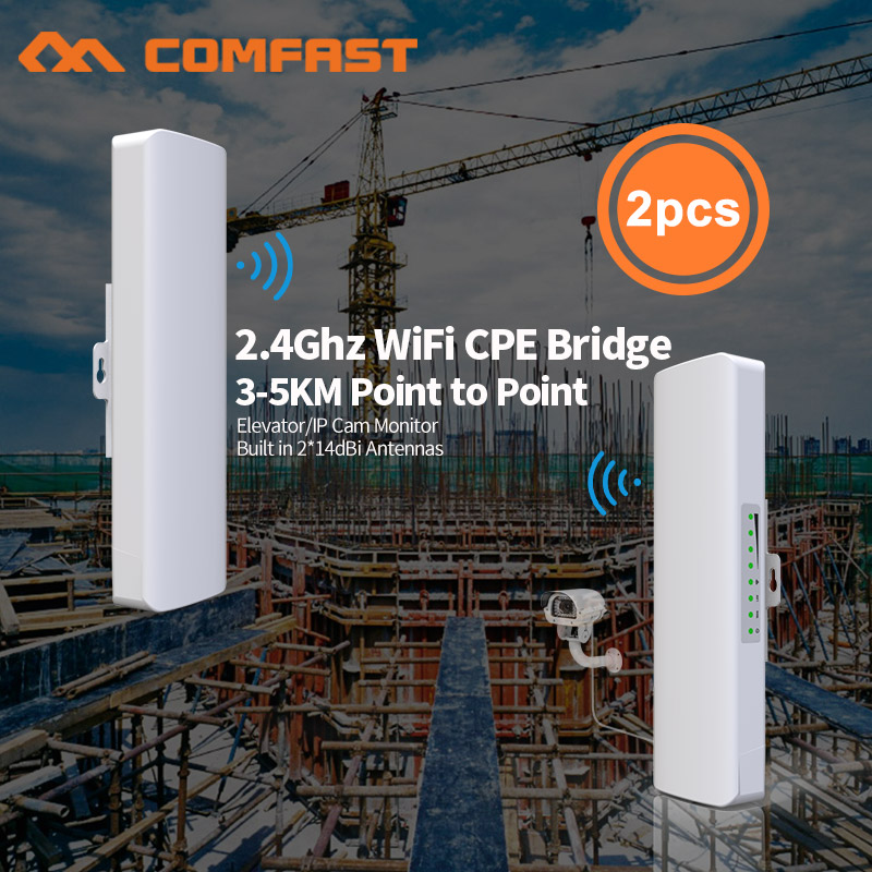 2pcs 2.4G 300Mbps Outdoor CPE Wireless Bridge Wi fi Repeater Amplifier Point to Point Wifi Transmission 3-5km Nanostation Router 2pc 300mbps 2 4ghz outdoor high power wireless bridge cpe repeater for point to point 2 14dbi antenna wifi transmission receiver