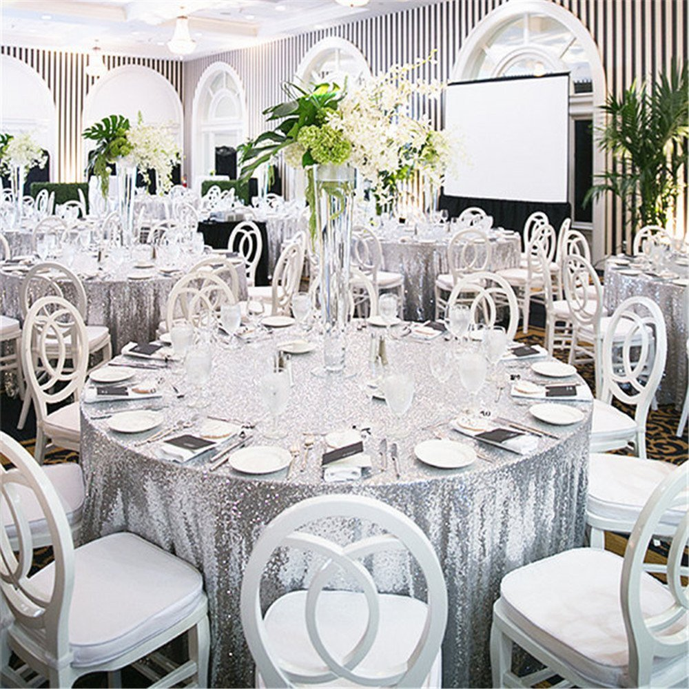 72 Round Silver Sequin Tablecloth Wedding Party Table Cloth Rectangle For In Tablecloths From Home
