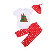 Christmas Baby Boy Girls Outfits Clothes Xmas 3pcs Short Sleeve Letters Print Rompers+Red Pants Hat Children Clothing Set Cotton