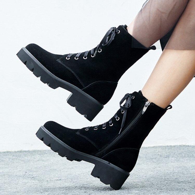{zorssar} Cuir Cheville 2018 Bottes marron Daim Femmes Moto Chaussures Dames Talon Boot Automne Mode Hiver Plate Noir forme En Haut 4rqv5w4Z