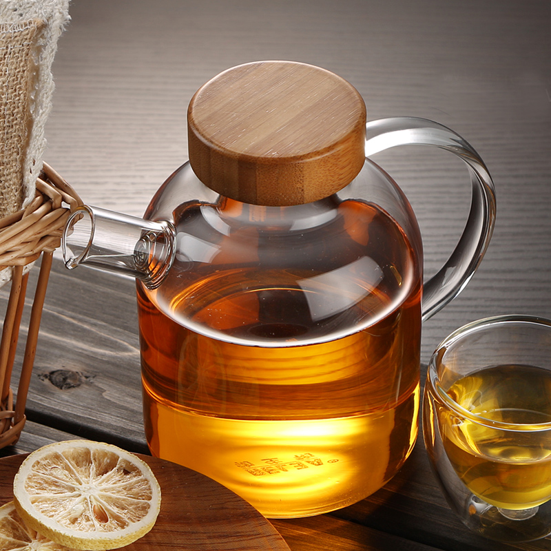 RELEA Brand Tea Pot Heat Resistant <font><b>Glass</b></font> Teapot Set Flower Tea Pot with Stainless Steel Filter and Bamboo Lid 500ml