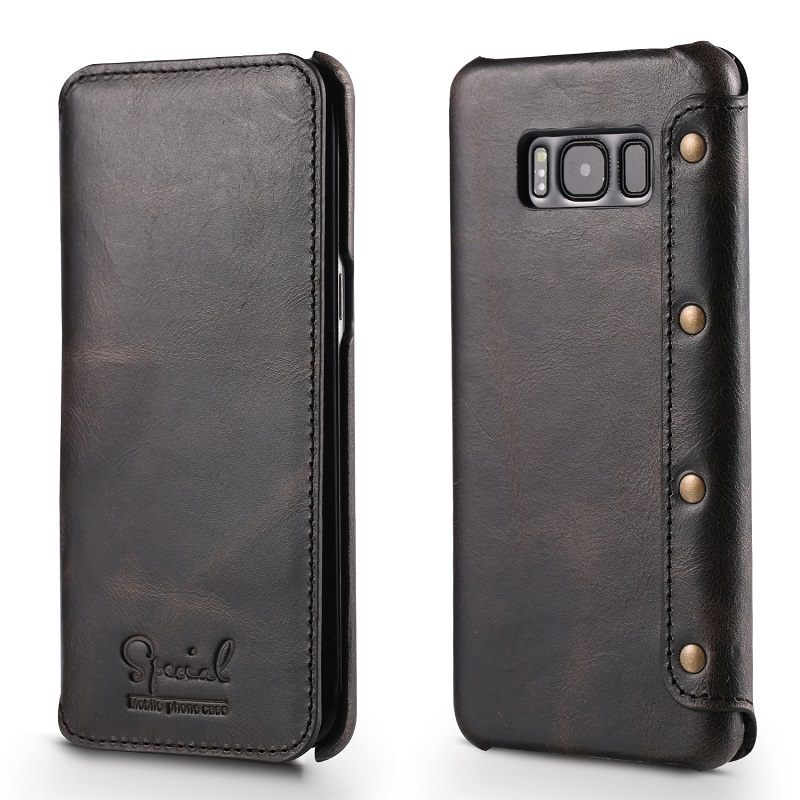 black real leather case for samsung galaxy s8 genuine leather coverS