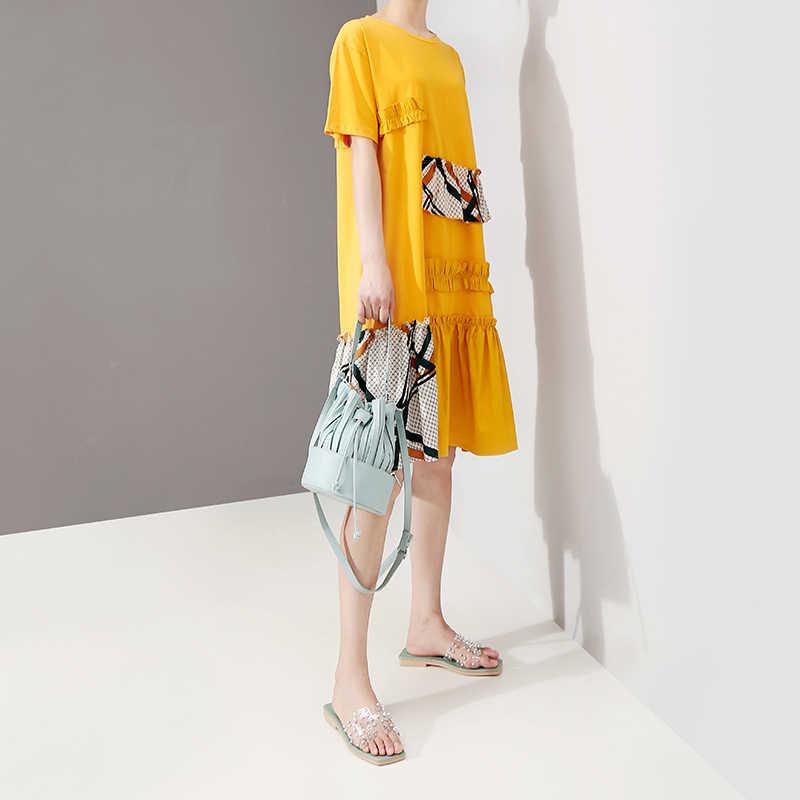 Женское платье до колен, повседневное свободное желтое платье средней длины с клетчатыми нашивками, оборками и круглым вырезом, модель 5186 в корейском стиле на лето, 2019