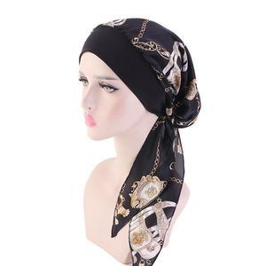 Image 5 - נשים מוסלמי חיג אב סרטן חמו כובע פרח הדפסת כובע טורבן כיסוי שיער אובדן ראש צעיף לעטוף מראש קשור בארה ב strech בנדנות