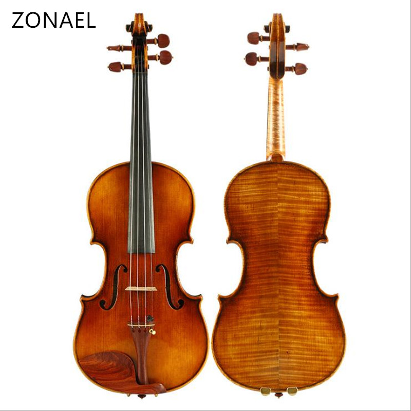 ZONAEL Violin Maple  4/4 Violino Handmade Ebony Picea Asperata Musical Instrument More than 18 years of natural dry wood 630 brand new handmade colorful electric acoustic violin violino 4 4 violin bow case perfect sound