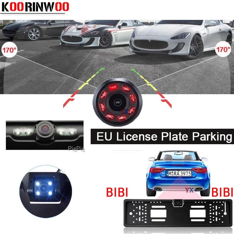 Koorinwoo Parktronic EU European License Plate Frame Rear View Camera IR Car Parking Sensor 2 Reverse Radar Buzzer Assist Auto