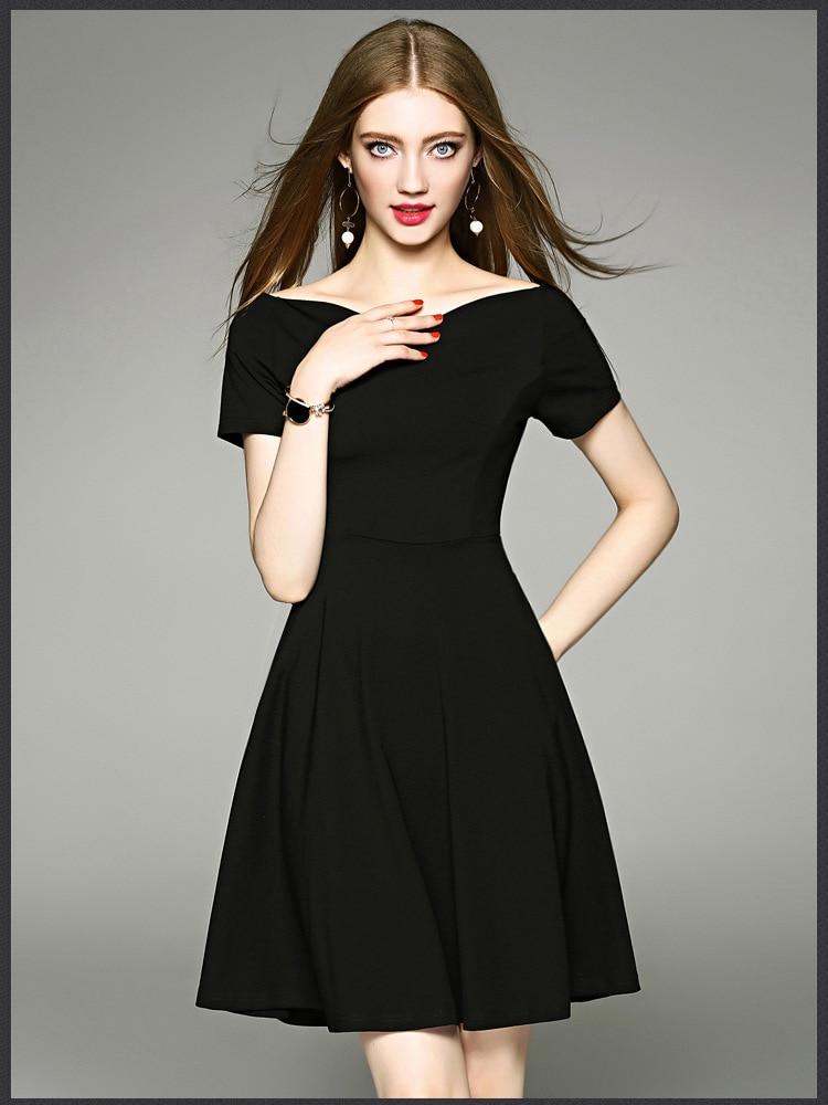 2017 Zomer Mode V-hals Hoge Kwaliteit Zwart Sexy Jurk Elegante Jurken Party Banket Jurk Gediversifieerd In Verpakkingen