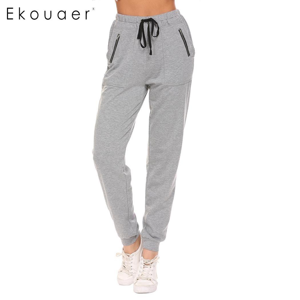 Ekouaer Women Casual Sleep Bottom Pant Cotton Elastic Drawstring Waist Regular Fit Zipper Pocket Sleepwear Loose Pajamas Pant