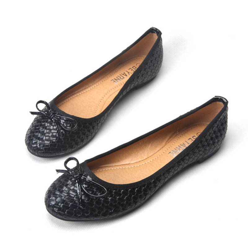 Ladies Casual Flat Shoes Spring Bowtie Flats Women Round Toe Slip-on Ballet Flats Knitted Pu Leather Ballerinas Flats For Women spring summer women leather flat shoes 2017 sweet bowtie flats women shoes pointed toe slip on ladies shoes low heel shoes pink
