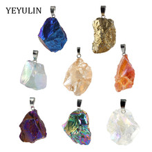 High Grade Geometry Natural Stone Charms Pendant For Making Jewelry DIY Accessories random size(China)