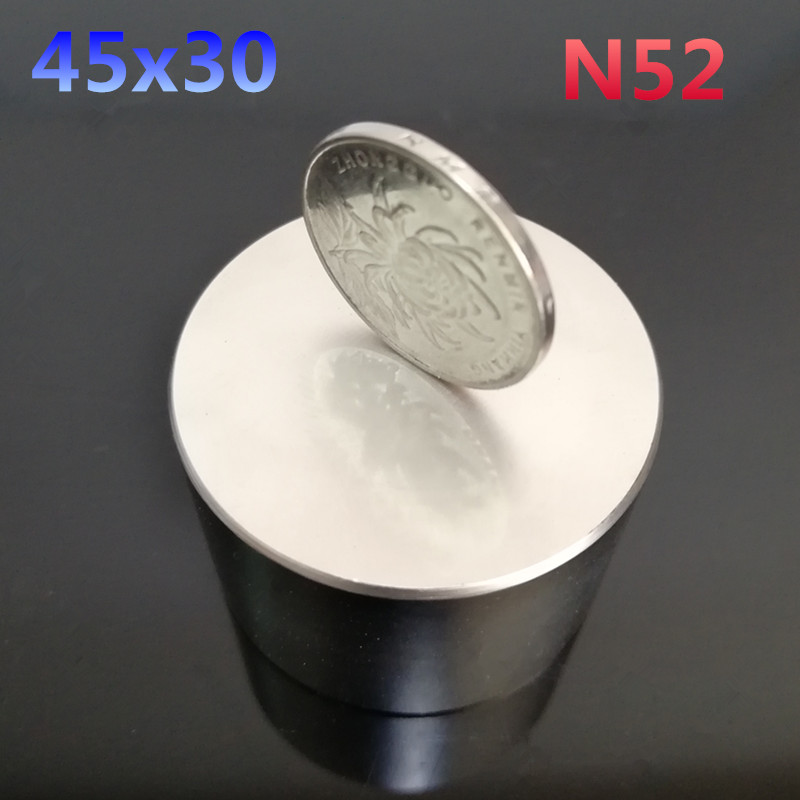1pcs N52 45x30mm Neodymium magnet gallium metal super strong round magnet 45*30mm Neodimio magnet powerful permanent magnets 50 30 1pc strong neodymium magnet n52 50mm x 30mm powerful neodimio super magnets imanes free shipping