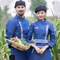 Outono e inverno homens e mulheres de roupas de trabalho de restauração do hotel serviço de restaurante pessoal equipe longo-sleeved panela quente loja uniformes