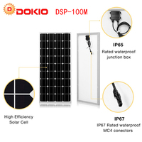 Dokio Brand Solar Panel China 100W Monocrystalline Silicon 18V celulas solares silicio Top quality Solar battery solar charger