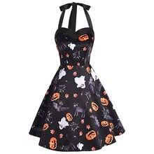 11ad3e4d3855c2 Wipalo Halter Neck Backless Halloween Kürbis Print A-Line Frauen Vintage  Kleid Sommer Herbst Retro Party Kleid Weibliche Vestido.