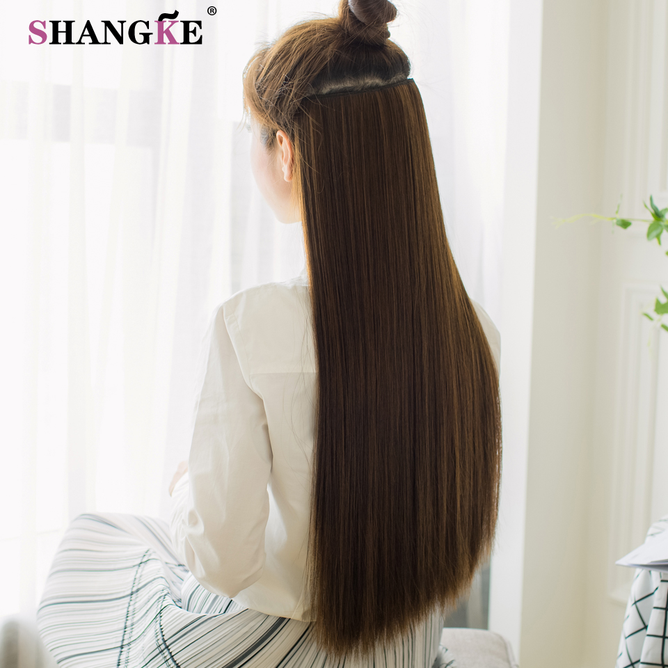 ALI shop ...  ... 32824919504 ... 3 ... SHANGKE 80 CM Long Straight Women Clip in Hair Extensions Heat Resistant Synthetic Hair Piece Black Dark brown Hairstyle ...