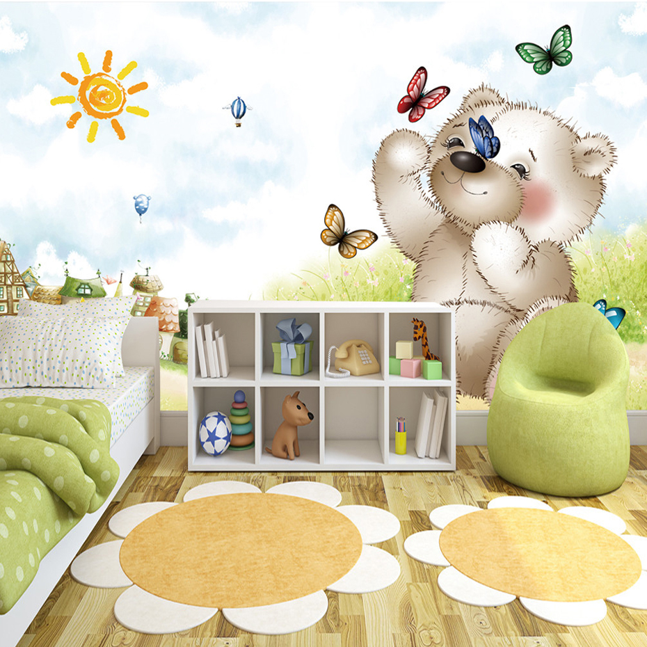 Custom Mural Wallpaper Papel De Parede 3D Cartoon Naughty Bear Children's Room Bedroom Non-woven Printed Wallpaper Murals 3D