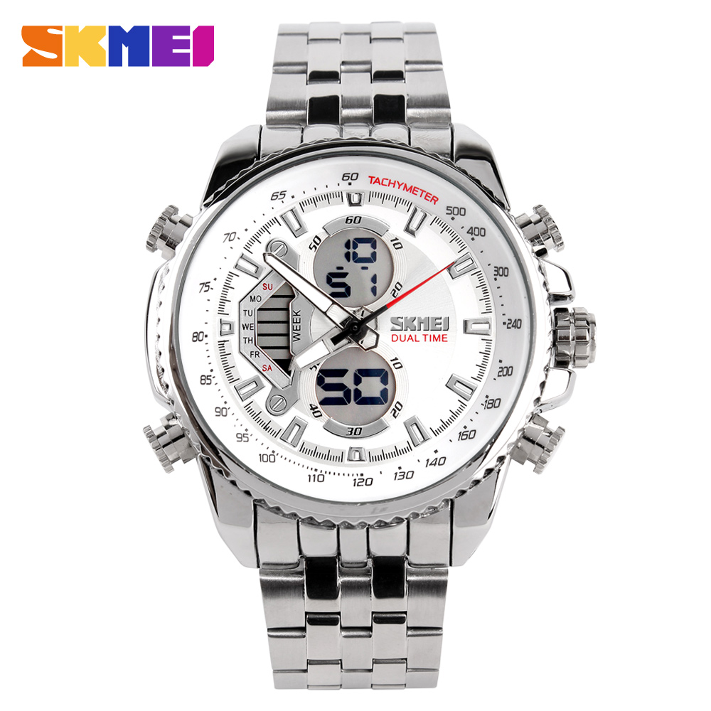 SKMEI Men Sport Watches Led Analog-Digital Wristwatch Waterproof Stainless Steel Watch Fashion Casual Mens Military Quartz Watch goblin shark sport watch 3d logo dual movement waterproof full black analog silicone strap fashion men casual wristwatch sh165