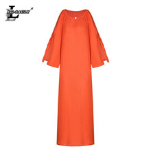 Lei SAGLY Women Bohemian Floor-length Beach Dress Summer Vacation Pure Color Clothes For