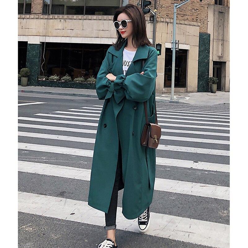 Léger Double Long Lâche Moyen Green Solide Mode Vert Streetwear Femelle Avec Trench Femmes Ceinture Manteau Boutonnage 2018 Manches Plein PfqzxOI