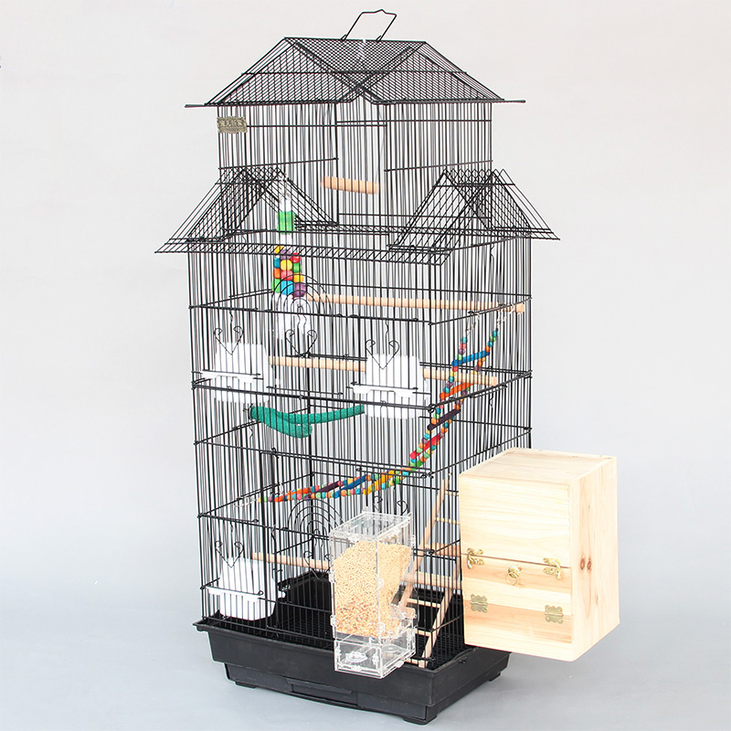 Large Triple Inclined <font><b>Roof</b></font> <font><b>Design</b></font> Bird Cages Houses Metal Parakeet Cockatiel Parrot Cage With Bird Chewing Biting Toys A11