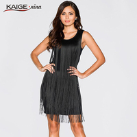KAIGE NINA Sexy Tassel Clubwear Nightclubs Dresses Black Color Sleeveless Women S Sexy Dress Hot Sale