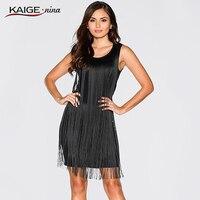 KAIGE NINA Sexy tassel clubwear Câu Lạc Bộ Đêm dresses đen màu tay của phụ nữ sexy Bán Hàng ăn mặc Nóng New 2232