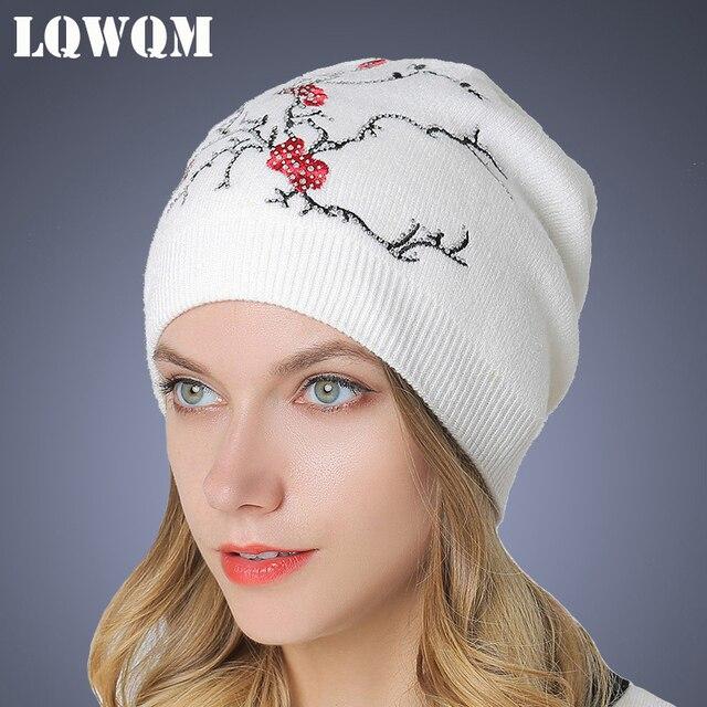 38753a2b9ea71 LQWQM plum cashmere hats for women rhinestone winter knitted hat wool beanie  double thick warm skullies female