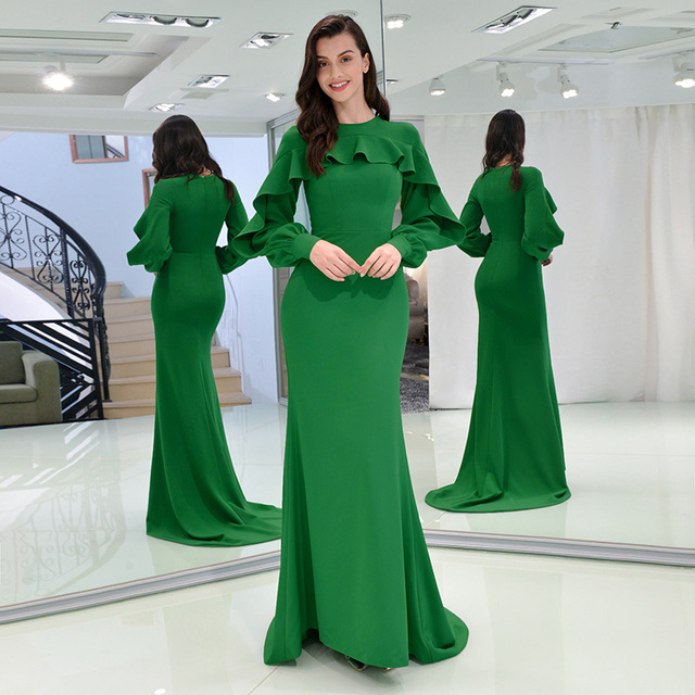 4a84b744d36f7 US $122.56 40% OFF|Tanpell ruffles evening dress bud green full sleeves  floor length long gown women formal mermaid plus custom evening dresses-in  ...