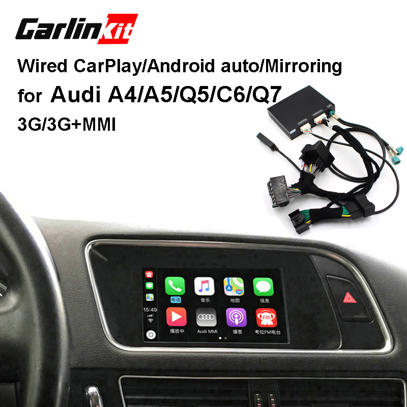 Carlinkit cable Apple CarPlay decodificador para Audi A4 A5 Q5 C6 Q7 3G/3G + MMI muItimedia kit de retroadaptación de interfaz CarPlay y Android
