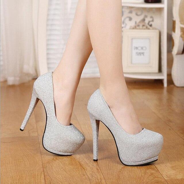 2017 Весенняя Мода Насосы Для Женщин Платформы Тонкие Туфли на Высоком каблуке Черный Серый Фиолетовый Высокие Каблуки Женская Обувь XP35