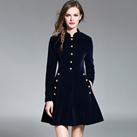 European And New Pattern Clip Keep High Skirt Color Self-cultivation Pocket long black casual Dress robe sexy retro