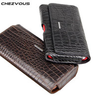 CHEZVOUS Crocodile Pattern Belt Clip Holster Leather Cases Pouch For Huawei Nova 2 6 Honor 8