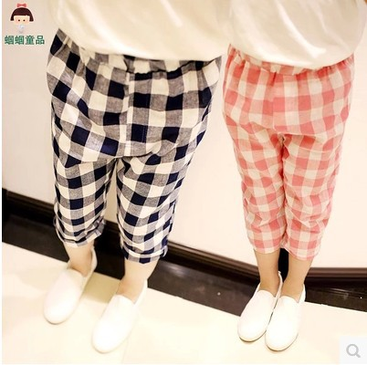 Aliexpress.com : Buy 2016 Summer Children's Loose Plaid Cropped ...