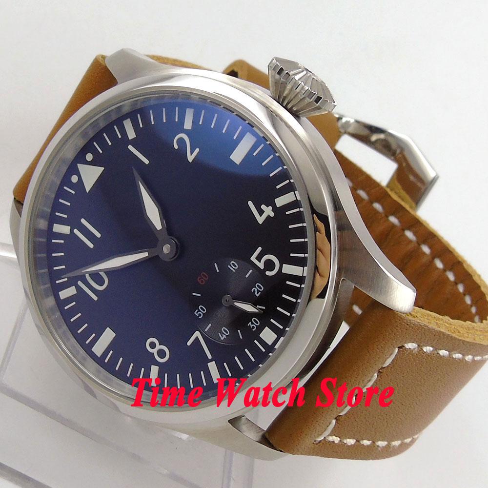 Parnis 47mm big crown black dial luminous ST3620 6498 mechanical hand winding movement mens watch P90 цена и фото