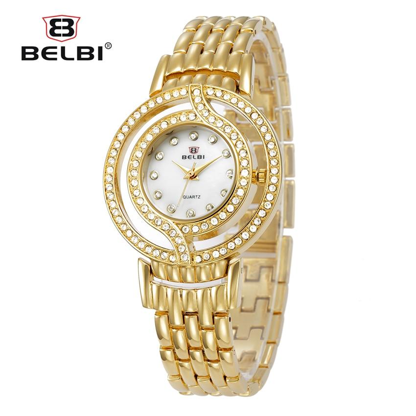 Hot Sale Belbi Women Watch Lady Fashion Luxury Brand Quartz Watches Casual Alloy Quartz-Watch Rhinestone Wristwatch 2016 Relojes