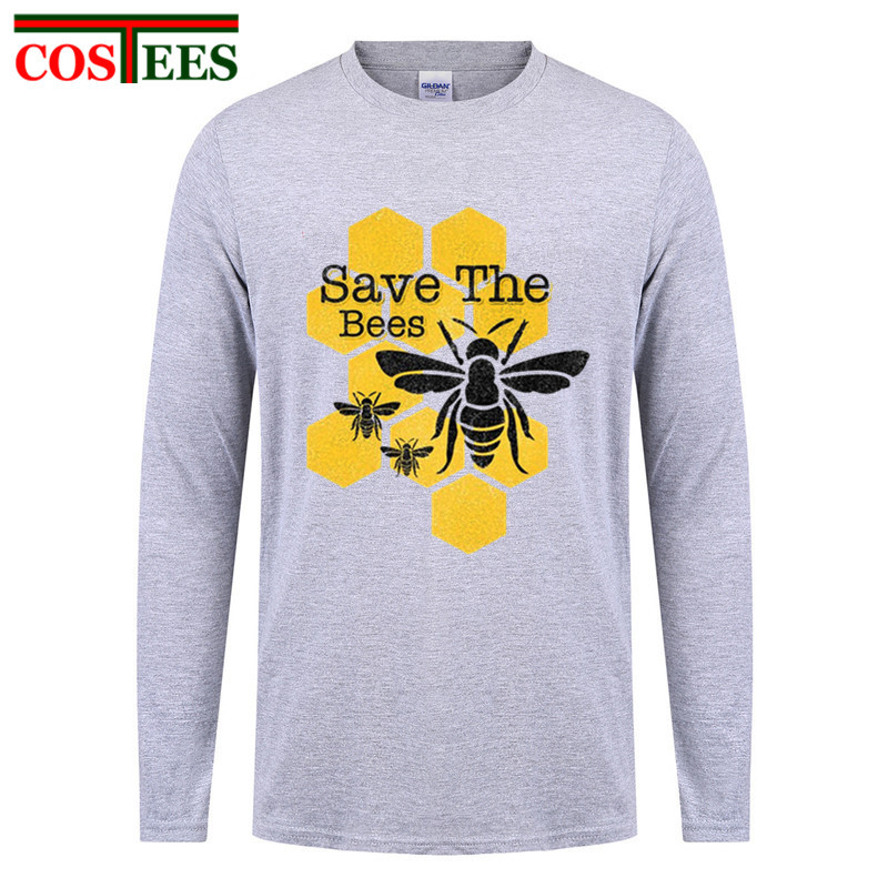 Save The Bees Mens Long Sleeve Casual Cotton T-Shirt