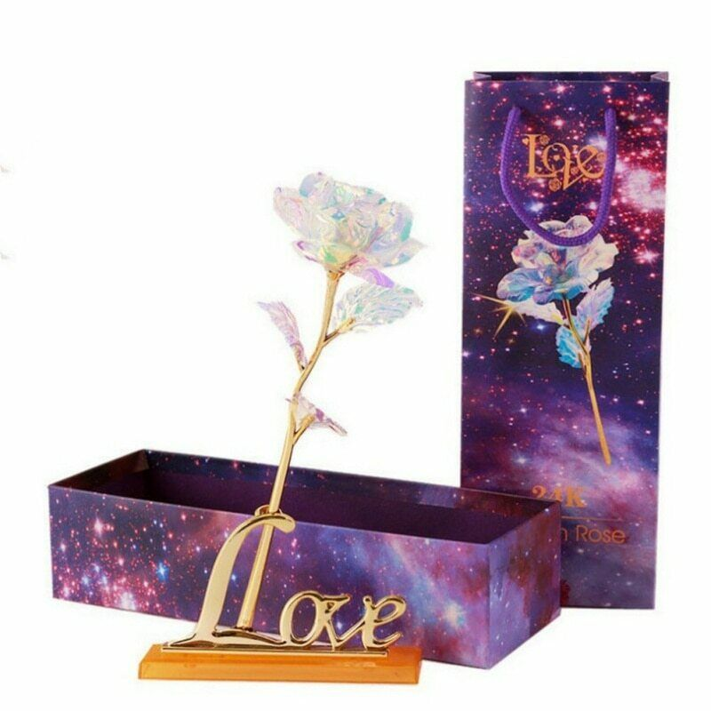 New Romantic Galaxy Rose with Love Base Stand Gift For Friends Valentines Birthdays Wedding Anniversary image