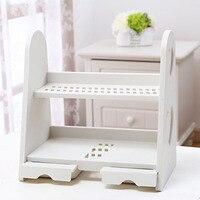 Multilayer Shelf Type Plastic Cosmetic Storage Rack Waterproof Table Drawer-style Ornament Rack 31.7*18.5*31.5CM