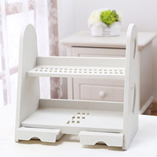 Multilayer Shelf Type Plastic Cosmetic Storage Rack Waterproof Table Drawer-style Ornament Rack 31.7*18.5*31.5CM