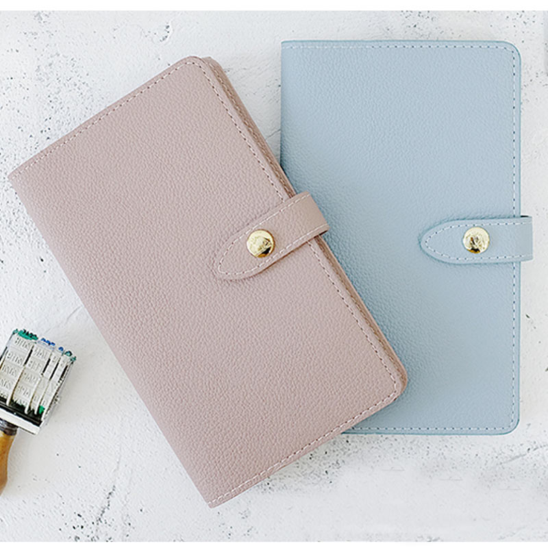 Yiwi New Arrive 18.5x11cm PU Leather Diary Hobo Style Notebook Pink Blue Snap Planner With Filler Pages